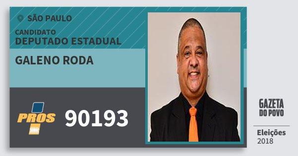 Santinho Galeno Roda 90193 (PROS) Deputado Estadual | São Paulo | Eleições 2018