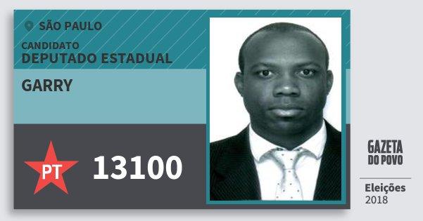 Santinho Garry 13100 (PT) Deputado Estadual | São Paulo | Eleições 2018