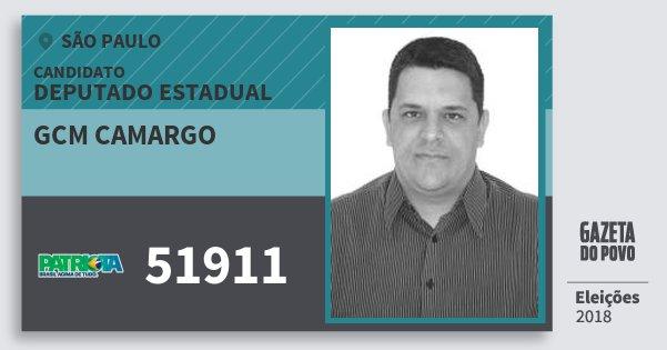 Santinho Gcm Camargo 51911 (PATRI) Deputado Estadual | São Paulo | Eleições 2018