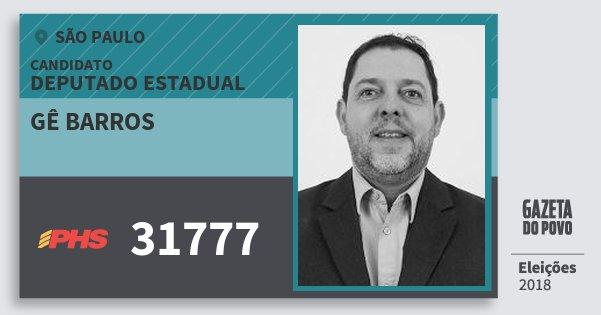 Santinho Gê Barros 31777 (PHS) Deputado Estadual | São Paulo | Eleições 2018
