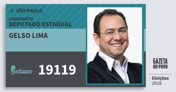 Santinho Gelso Lima 19119 (PODE) Deputado Estadual | São Paulo | Eleições 2018
