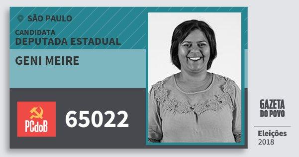 Santinho Geni Meire 65022 (PC do B) Deputada Estadual | São Paulo | Eleições 2018