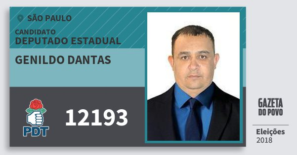 Santinho Genildo Dantas 12193 (PDT) Deputado Estadual | São Paulo | Eleições 2018