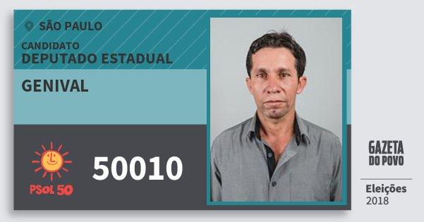 Santinho Genival 50010 (PSOL) Deputado Estadual | São Paulo | Eleições 2018
