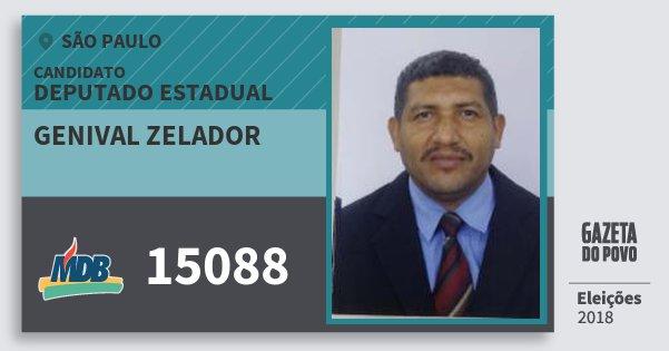 Santinho Genival Zelador 15088 (MDB) Deputado Estadual | São Paulo | Eleições 2018