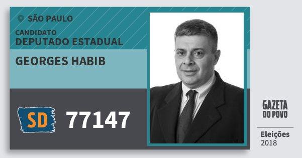 Santinho Georges Habib 77147 (SOLIDARIEDADE) Deputado Estadual | São Paulo | Eleições 2018