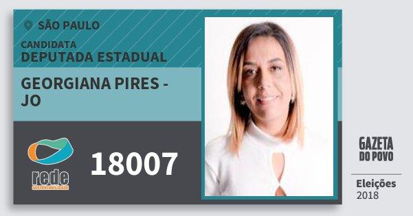 Santinho Georgiana Pires - Jo 18007 (REDE) Deputada Estadual | São Paulo | Eleições 2018