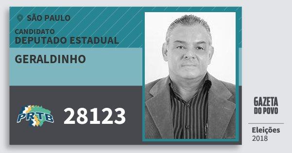 Santinho Geraldinho 28123 (PRTB) Deputado Estadual | São Paulo | Eleições 2018