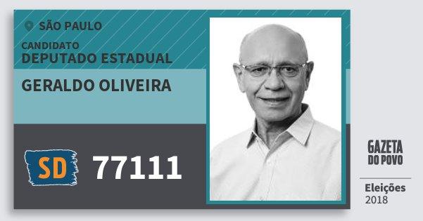 Santinho Geraldo Oliveira 77111 (SOLIDARIEDADE) Deputado Estadual | São Paulo | Eleições 2018
