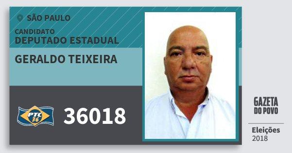 Santinho Geraldo Teixeira 36018 (PTC) Deputado Estadual | São Paulo | Eleições 2018