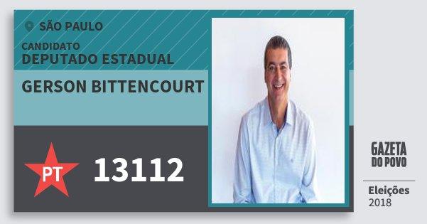 Santinho Gerson Bittencourt 13112 (PT) Deputado Estadual | São Paulo | Eleições 2018