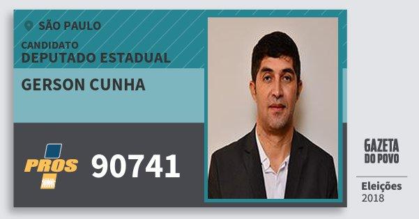 Santinho Gerson Cunha 90741 (PROS) Deputado Estadual | São Paulo | Eleições 2018