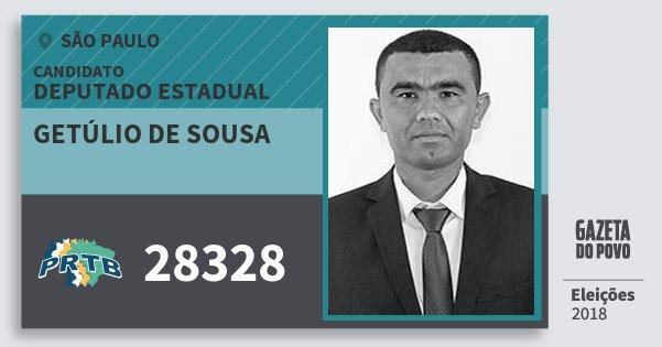 Santinho Getúlio de Sousa 28328 (PRTB) Deputado Estadual | São Paulo | Eleições 2018