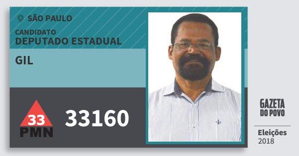 Santinho Gil 33160 (PMN) Deputado Estadual | São Paulo | Eleições 2018