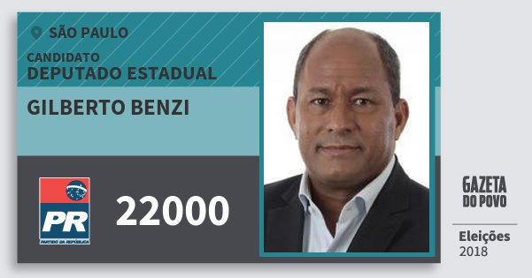 Santinho Gilberto Benzi 22000 (PR) Deputado Estadual | São Paulo | Eleições 2018
