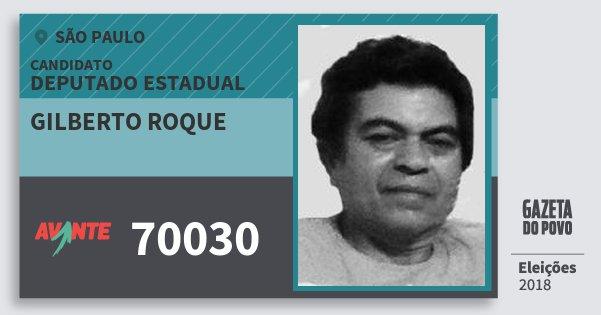 Santinho Gilberto Roque 70030 (AVANTE) Deputado Estadual | São Paulo | Eleições 2018