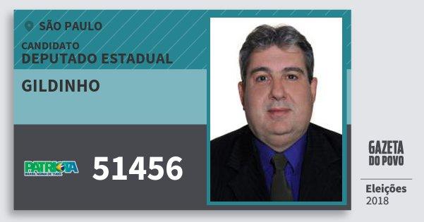 Santinho Gildinho 51456 (PATRI) Deputado Estadual | São Paulo | Eleições 2018