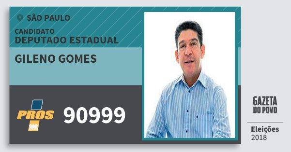 Santinho Gileno Gomes 90999 (PROS) Deputado Estadual | São Paulo | Eleições 2018