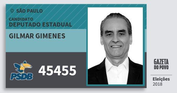 Santinho Gilmar Gimenes 45455 (PSDB) Deputado Estadual | São Paulo | Eleições 2018