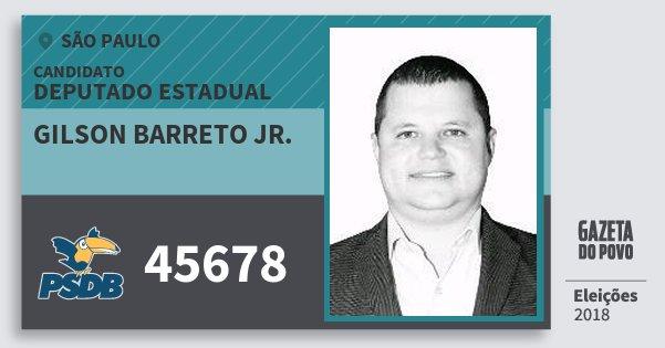 Santinho Gilson Barreto Jr. 45678 (PSDB) Deputado Estadual | São Paulo | Eleições 2018