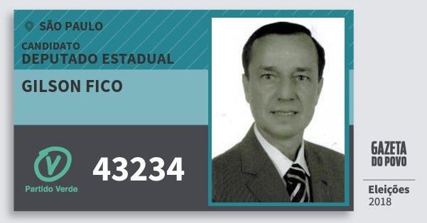 Santinho Gilson Fico 43234 (PV) Deputado Estadual | São Paulo | Eleições 2018