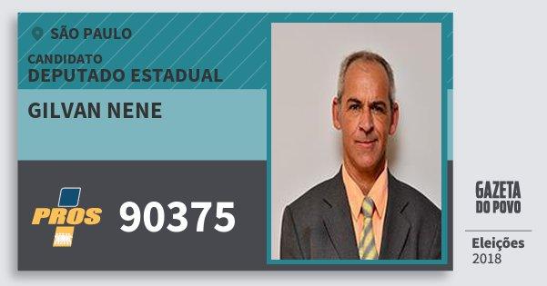 Santinho Gilvan Nene 90375 (PROS) Deputado Estadual | São Paulo | Eleições 2018