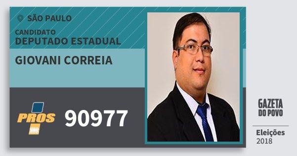 Santinho Giovani Correia 90977 (PROS) Deputado Estadual | São Paulo | Eleições 2018
