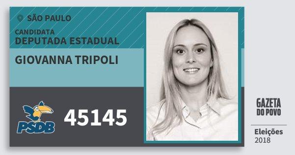Santinho Giovanna Tripoli 45145 (PSDB) Deputada Estadual | São Paulo | Eleições 2018