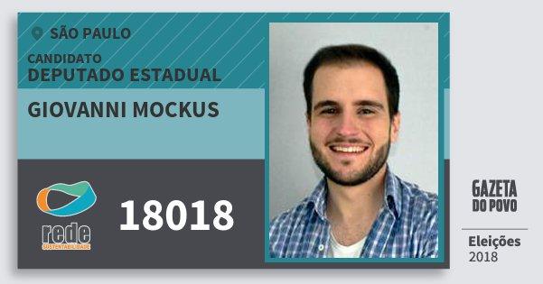 Santinho Giovanni Mockus 18018 (REDE) Deputado Estadual | São Paulo | Eleições 2018