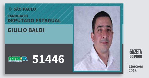 Santinho Giulio Baldi 51446 (PATRI) Deputado Estadual | São Paulo | Eleições 2018