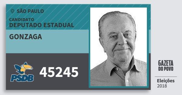 Santinho Gonzaga 45245 (PSDB) Deputado Estadual | São Paulo | Eleições 2018
