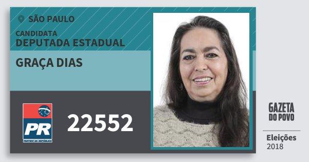 Santinho Graça Dias 22552 (PR) Deputada Estadual | São Paulo | Eleições 2018