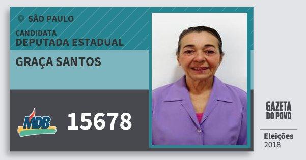 Santinho Graça Santos 15678 (MDB) Deputada Estadual | São Paulo | Eleições 2018