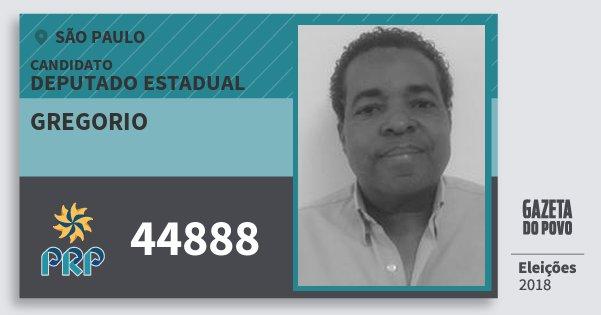 Santinho Gregorio 44888 (PRP) Deputado Estadual | São Paulo | Eleições 2018