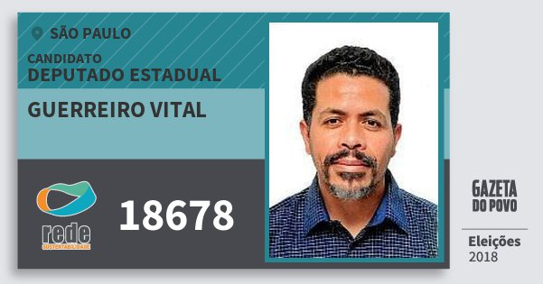 Santinho Guerreiro Vital 18678 (REDE) Deputado Estadual | São Paulo | Eleições 2018