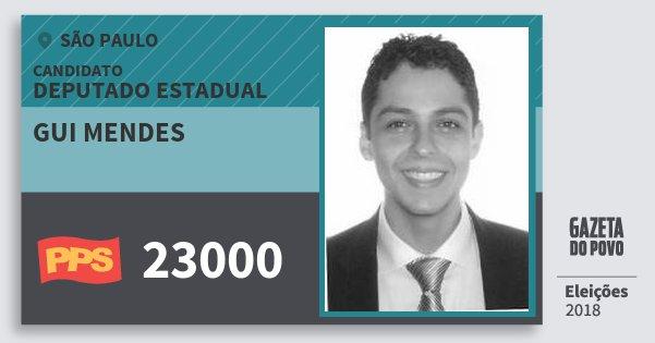 Santinho Gui Mendes 23000 (PPS) Deputado Estadual | São Paulo | Eleições 2018
