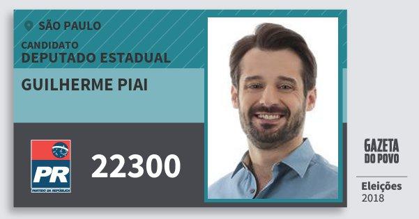 Santinho Guilherme Piai 22300 (PR) Deputado Estadual | São Paulo | Eleições 2018