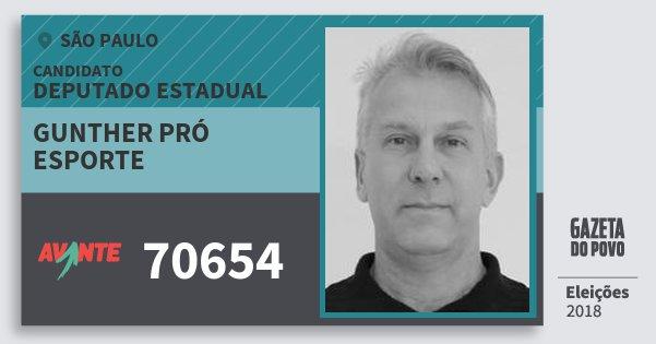 Santinho Gunther Pró Esporte 70654 (AVANTE) Deputado Estadual | São Paulo | Eleições 2018