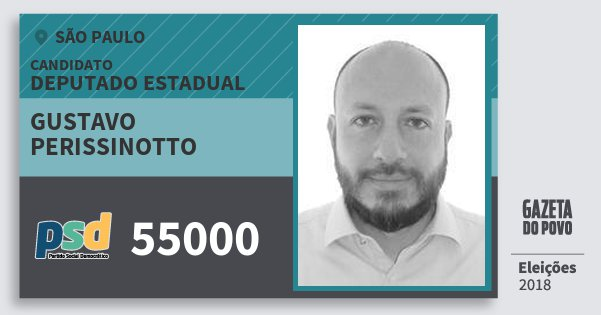 Santinho Gustavo Perissinotto 55000 (PSD) Deputado Estadual | São Paulo | Eleições 2018