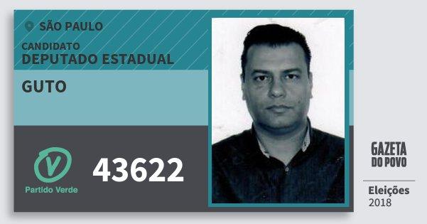 Santinho Guto 43622 (PV) Deputado Estadual | São Paulo | Eleições 2018