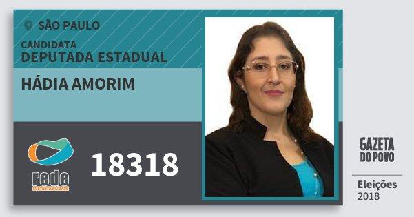 Santinho Hádia Amorim 18318 (REDE) Deputada Estadual | São Paulo | Eleições 2018