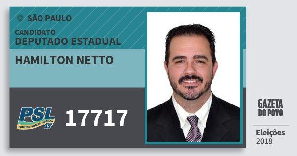 Santinho Hamilton Netto 17717 (PSL) Deputado Estadual | São Paulo | Eleições 2018