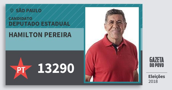 Santinho Hamilton Pereira 13290 (PT) Deputado Estadual | São Paulo | Eleições 2018
