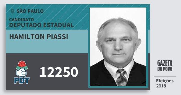 Santinho Hamilton Piassi 12250 (PDT) Deputado Estadual | São Paulo | Eleições 2018