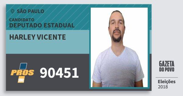 Santinho Harley Vicente 90451 (PROS) Deputado Estadual | São Paulo | Eleições 2018