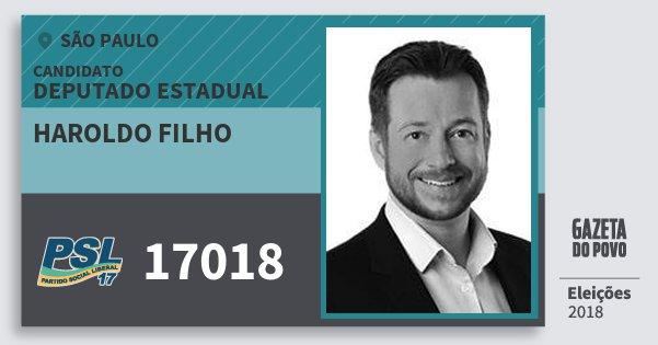 Santinho Haroldo Filho 17018 (PSL) Deputado Estadual | São Paulo | Eleições 2018