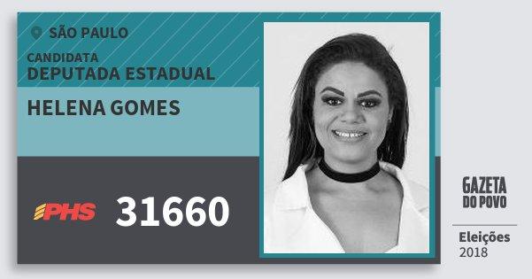 Santinho Helena Gomes 31660 (PHS) Deputada Estadual | São Paulo | Eleições 2018