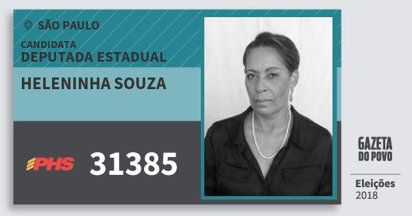 Santinho Heleninha Souza 31385 (PHS) Deputada Estadual | São Paulo | Eleições 2018