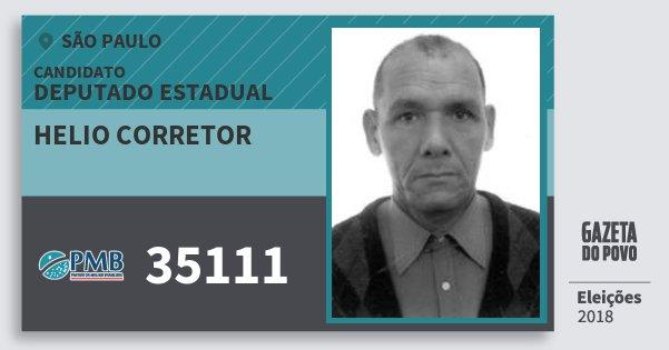 Santinho Helio Corretor 35111 (PMB) Deputado Estadual | São Paulo | Eleições 2018