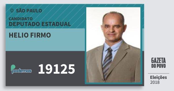 Santinho Helio Firmo 19125 (PODE) Deputado Estadual | São Paulo | Eleições 2018